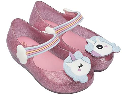 Melissa Mini Infants Ultragirl Unicorn Flat Plastic Shoe Pink Glitter-Pink-6 Size 6
