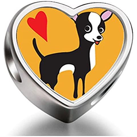Rarelove Sterling Silver Chihuahua Dog Heart Photo Charm Beads