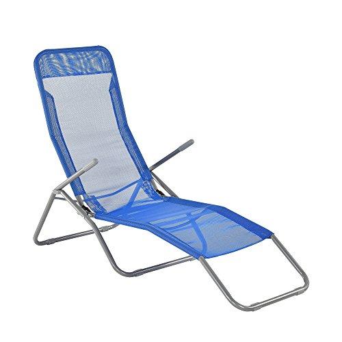[casa.pro]® Sonnenliege 190cm Blau Gartenliege Strandliege Kippliege Liege  Faltbar