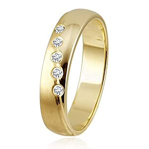 Diamond Line Damen – Ring 375er Gold 5 Diamanten ca. 0,08 ct.