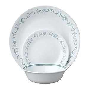 Corelle Service de vaisselle pour 6 personnes 18 pièces en verre Vitrelle Motif Country Cottage Vert/bleu