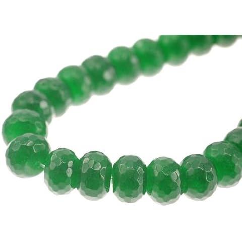 Jade, tinti, verde fac. Rondell 12mm, ciocca ca 40cm, ca. 50pezzi