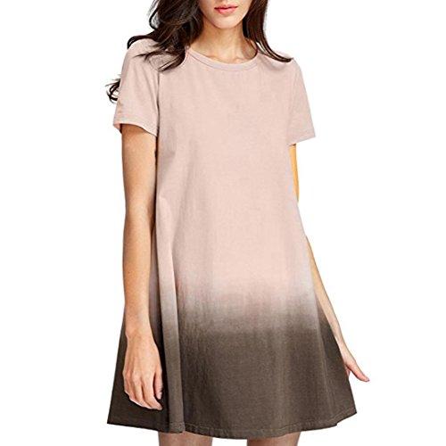men Sommer Kurzarm Kleid Bindung Färbungs Baumwolle Minikleid (S/36, Brown) ()