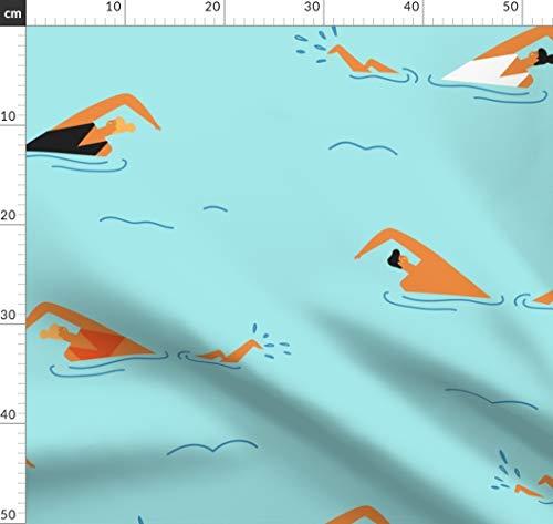 Schwimmbecken, Pool, Ozean, Meer, Bikini Stoffe - Individuell Bedruckt von Spoonflower - Design von Tasiania Gedruckt auf Bio Baumwollsatin