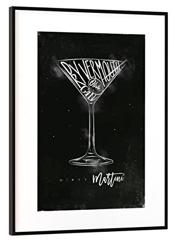 artboxONE Poster mit Rahmen Schwarz (Metallic) 45x30 cm Dirty Martini Cocktail Chalk von Anna Kozlenko