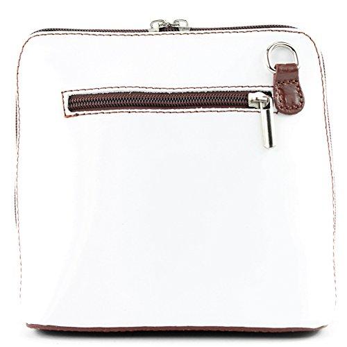 modamoda de -. borsa in pelle ital piccole signore borsa tracolla bag Città bovina T94 Weiß/Braun