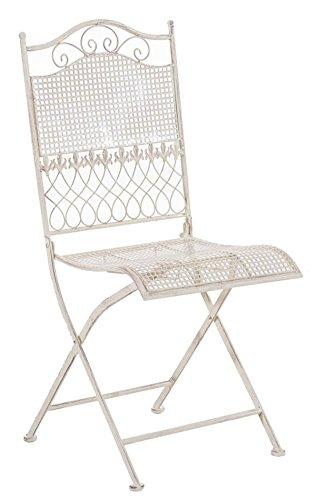 Chaise de jardin en fer coloris crème antique - 91 x 41 x 50 cm -PEGANE-