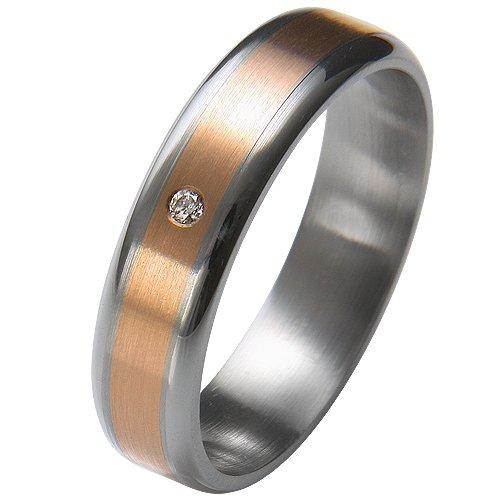 Liebe² - Alianza de acero inoxidable con diamante (.01)