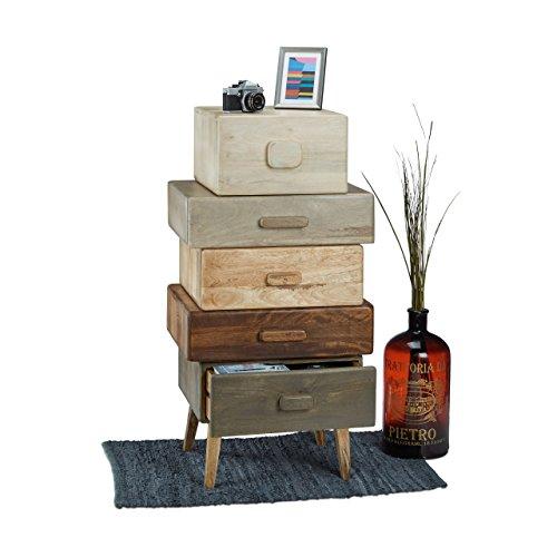 Moderner Aktenschrank (Native Home Kommode mehrfarbig, Schubladenschrank Mango-Holz, Beistellschrank mit 5 Schubladen, HBT: ca 110 x 57 x 45 cm)