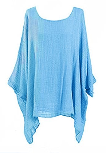 8c85ef6ddf98 SSoul Womens Cheese Cloth Loose Fit Batwing Holidays Beach Cotton Kimono  Sleeve Baggy Top Casual T-Shirt Summer Insert Vest Tops Plus Size UK 14-24  ...