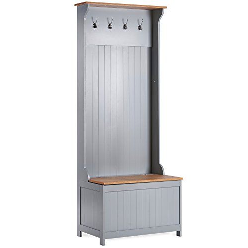 VonHaus Hall Valet with Storage Trunk – Ash Grey & Wood Hallway/Entryway/Porch Storage Furniture With Coat Rack, Seating Bench & Storage Unit