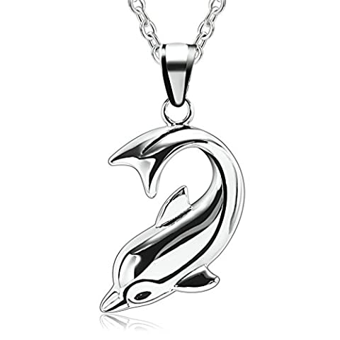 Aooaz Stainless Steel Pendant Necklace for Men, Dolphins Defencor Of Love Pendant Necklaces Silver