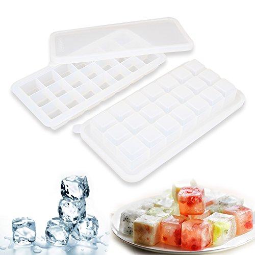 likon Eiswürfelform Pralinenform mit Deckel - 21*36ml, 2er Pack Silikonform BPA-frei & FDA zugelasse, Backform Muffinform für Eiswürfel Muffin Schokolade Pralinen usw. Maße von 27.7 x 13.7 x 3.5cm (transparent) (Gemüse-eis-behälter)