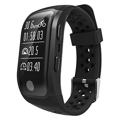Smart Bluetooth Armband S908Sport Armband Herzfrequenz Monitor Schrittzähler Sitzende Reminder GPS IP68Wasserdicht Intelligente Armband für iOS Android Handy, schwarz (Diagramm Zahlen Medizinische)