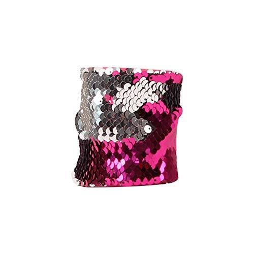YaptheS Mermaid-Armband für Partei-Bevorzugungen, Geburtstags-Geschenke, Zweifarben-Wende Charm Pailletten-Armband Magie Beruhigende Armbänder für Kinder (Rose Red & Silver) Schöner Schmuck