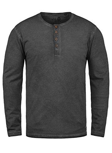 !Solid Timur Herren Longsleeve Langarmshirt Shirt mit Grandad-Ausschnitt und Brusttasche aus 100% Baumwolle, Größe:XL, Farbe:Black (9000)