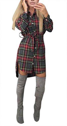 Mesdames Robes T Shirt Femme Courte Manche Longue Robes Chemise À Carreaux Chic Vintage Robes Casual Robes Gris