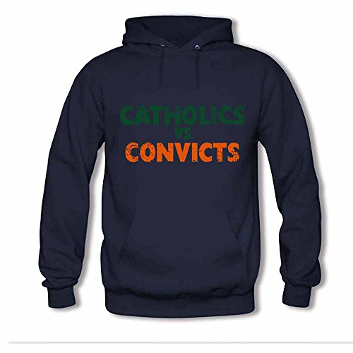 Womens Hooded Sweatshirt Catholics Vs Convicts Distressed Cotton Hoodie S