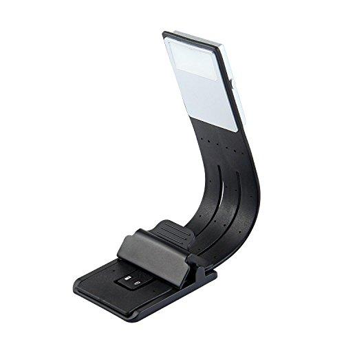 KOBWA USB Recargable Linterna LED para Leer en la Cama - 4 Brillo Ajustable Portátil Ligero Clip en E-reader Noche Lampara de Lectura Marca de Libro con Brazo Flexible, Negro