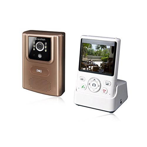 2.4G Wireless Video Doorbell, iCreation DIY Door Phone Intercom with Wide Angle Camera, Night Version, PIR Sensor, 200M Long Distance Without Worrying WiFi, Smoothly Video and HD Sound. (Gloden)