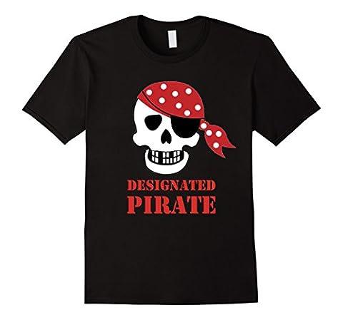 Men's Jolly Roger Designated Pirate Skull Designated Driver Tee 2XL Black