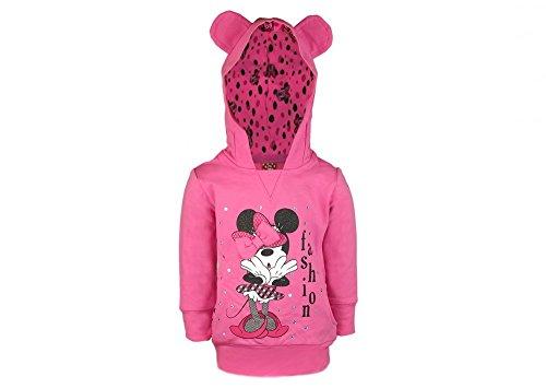 Minnie Mouse Langarm Ohren-Kaputzen Pullover T-Shirt aus Baumwolle in GRÖSSE 86 92 98 104 110 116 122 Disney Design für Baby Mädchen oder Kinder in Rosa Pink oder Weiss Farbe Rosa, Größe 122