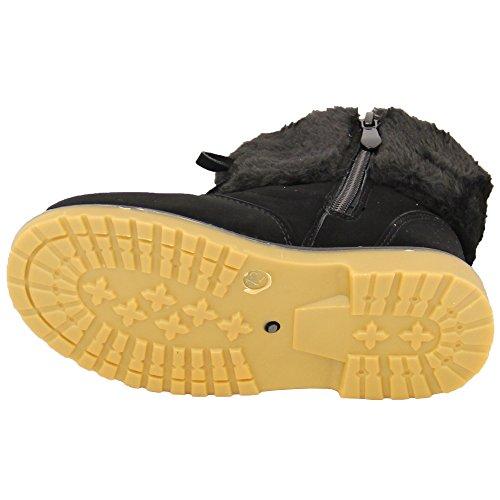 Mädchen Schnee Pelz Stiefel Jungen Schuhe Kleinkinder Militär Warm Winter Hoch Knöchel Schnüren Schwarz - WB04