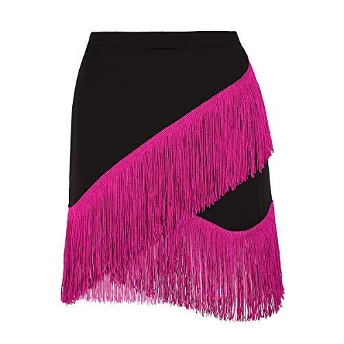 Agoky Damen Mädchen Tanzrock Latin Tango Rumba Salsa Quasten Tanz Bauchtanz Kostüm Quaste Röckchen Schwarz&Pink M(Taille 62-76cm)