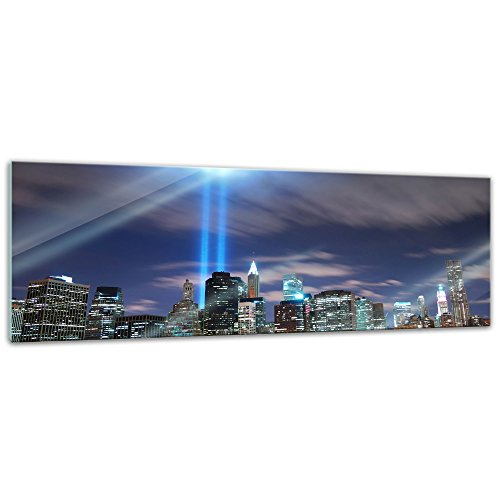 Glasbild - New York City Manhattan at night - USA - 120x40 cm - Deko Glas - Wandbild aus Glas - Bild auf Glas - moderne Glasbilder - Glasfoto - Echtglas - kein Acryl - Handmade