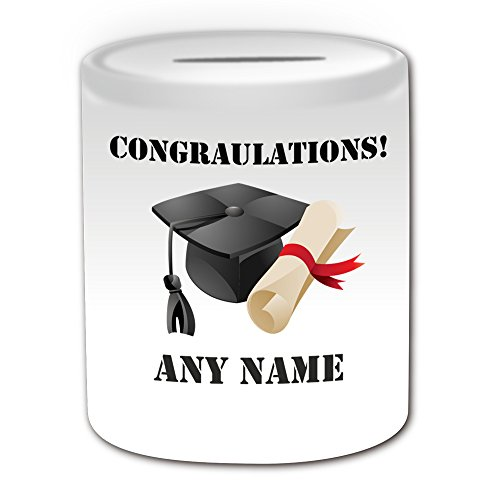 Personalised Gift - Mortarboard and Certificate Money Box (Academic Design Theme, White) - Any Name / Message on Your Unique - School College University - Congratulations by UniGift (Law School In A Box)