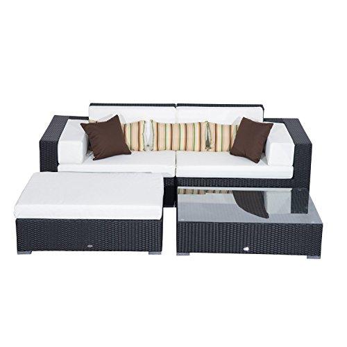 Outsunny 2-Sitzer montiert alle Wetter Garten Rattan Möbel Sofa Sofa Terrasse Sonnenliege Set mit Aluminium-Rahmen Hocker und schwer entflammbar Schwamm–Schwarz