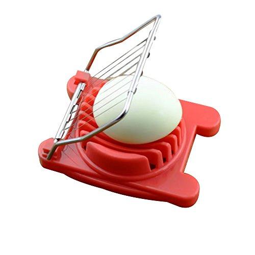 Eierschneider Cutter Kunststoff  Edelstahl Einfach Cutter Küche Gekochte Eier Kochen Werkzeuge Cutter  für Pilz Slicer Lebensmittel-Rot