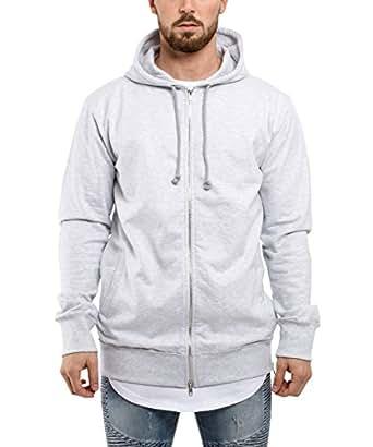 21648756392edf Blackskies Raw Hem Zip Hoodie Herren Langer Pullover Oversized  Kapuzenpullover Sweater Grau Anthrazit Grün  Amazon.de  Bekleidung