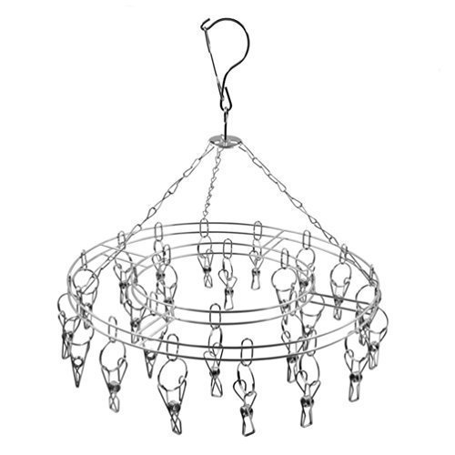 chic-queen-durable-stainless-steel-laundry-clothesline-hanging-rack-drying-hangers-clothespins-multi