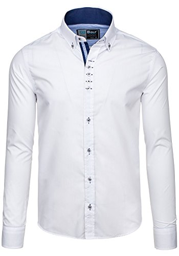 BOLF – Chemise casual – Manches longues – Elégant – BOLF 5787 – Homme Blanc