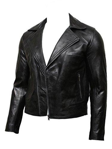 Brandslock Herren Schwarz Stylish Leder Biker Zipper Jacke Designer Look (XS, Schwarz)