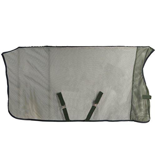 RTS Fliegendecke mit High Neck und längenverstellbarer Kreuzbegurtung, atmungsaktiv und strapazierfähig als Transportdecke und Fliegenschutz, dunkelgrün, 145cm