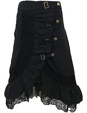 Mujer Punk Rock Gótico Faldas De Encaje Negro Asimétrico Falda Negro XL
