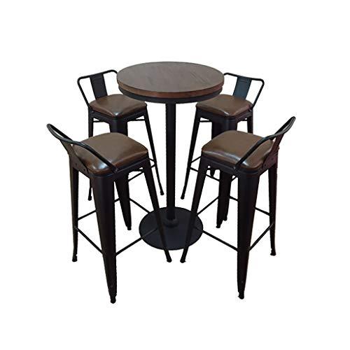 empfangstheke friseur XUEYAN XX Barhocker Hoher Hocker Lounge-Sessel Empfangstheke Starbucks Barhocker Bar Tisch-Stuhl-Kombination Iron Art Rückenlehne Massivholz (größe : F)