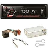 Pioneer MVH-S100UB Autoradio USB AUX 1-DIN MP3 FLAC WMA Einbauset für Golf 4 Passat 3B Polo 6N 9N Lupo