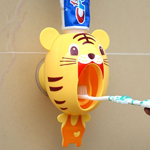 hkfv Creative Cartoon dispensador de pasta de dientes automático soporte de pared soporte baño sets Superb Cute patrón mejor elección para sus hijos, plástico, Amarillo, 15*9.6*9.8cm
