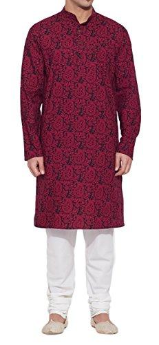 ShalinIndia Männer Baumwoll Lange Kurta Nehru Kragen 3 Taschen, M-CLK42-1024, Weinrot, Größe-42-Zoll (Nicht-eisen-shirt Klassischen,)