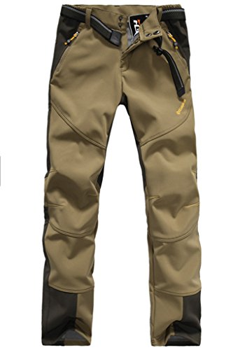Micosuza Damen Fleece Wanderhose Winddicht Wasserdicht Softshell Outdoorhose, Tief Tan, EU XXS = Tag S