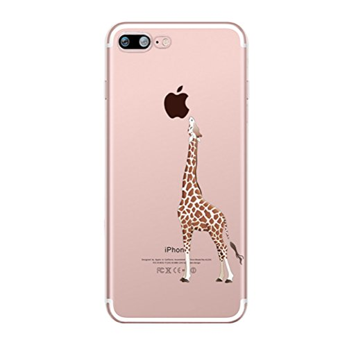 Custodia iPhone 6 Plus/6s Plus [Pellicola Protettiva In Vetro Temperato], Bestsky Cover iPhone 6s Plus Trasparente con Disegni Morbida Gel Silicone Antiurto Bumper Case, Ragazza di farfalla Giraffa