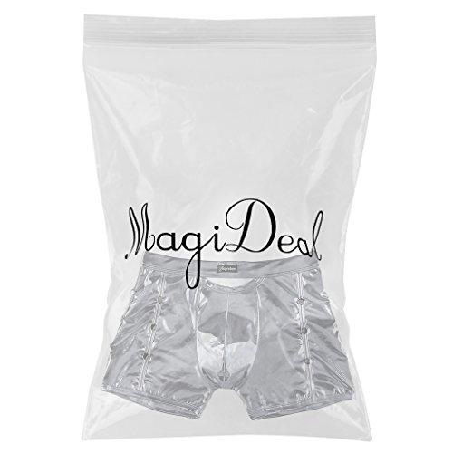 MagiDeal Herren Sexy Unterwäsche Metallic Boxershorts Slips Unterhose Shorts Silber-Grau