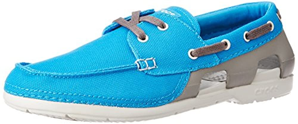 crocs Mens Beach Line Lace Up Boat Shoes, Ocean/Smoke, US 11