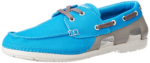 Beach Boat Schuhe (crocs Mens Beach Line Lace Up Boat Shoes, Ocean/Smoke, US 11)