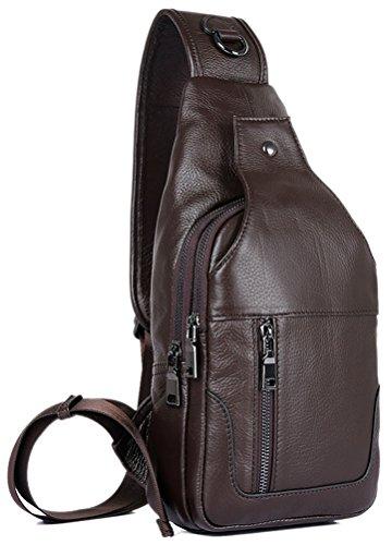 Everdoss Herren Bauchtasche Business echt Leder Schultertasche Cross Body Messenger Bag mit Schultergurt Brusttasche Freizeit Dunkel Kaffee