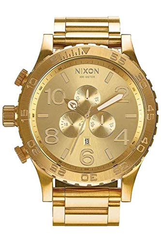 Nixon 51/30 Herren Uhr analog Quarzwerk mit Edelstahl vergoldet Armband A083502