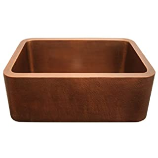 Whitehaus Wh2519Cofc-Hco Haus 25-Inch Rectangular Undermount Sink With Hammered Front Apron, Hammered Copper
